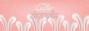 Easter rabbit ears Vector poster. Holiday card. pink background - starpik