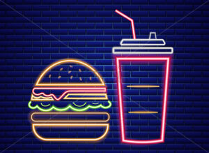 Fast food lunch menu neon billboard Vector. Glowing Fastfood light billboard symbol. Cafe menu template - starpik