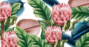 Ginger flowers tropic background Vector watercolor. Exotic banner botanic floral and palm leaves decor - starpik