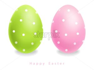 Green and pink Easter eggs with dots Vector realistic. Holiday cute design template - starpik