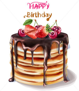 Happy birthday cake Vector watercolor. Chocolate filling and fruits topping - starpik