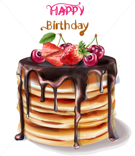 Peachy Happy Birthday Cake Vector Watercolor Chocolate Filling And Funny Birthday Cards Online Fluifree Goldxyz