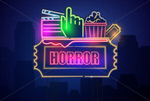 Horror movie cinema neon symbol Vector. Glowing sign dark background. Shinning billboard template - starpik