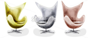 Modern chair set watercolor Vector. Design decor vintage furniture - starpik