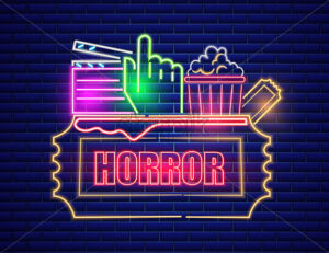 Movie cinema neon symbol Vector. Glowing sign dark background. Shinning billboard template - starpik