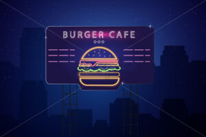 Neon burger Vector poster. Glowing sign dark city background. Fastfood light billboard symbol. Cafe menu template - starpik