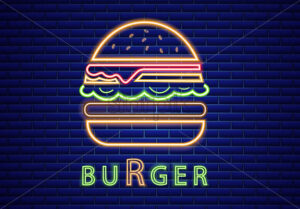 Neon burger Vector poster. Glowing sign fastfood light billboard symbol. Cafe menu item - starpik