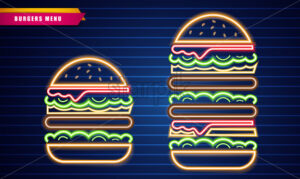 Neon burgers different sizes Vector poster. Glowing Fastfood light billboard symbol. Cafe menu template - starpik