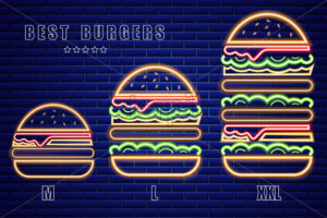 Neon burgers set of different sizes Vector poster. Glowing Fastfood light billboard symbol. Cafe menu template - starpik