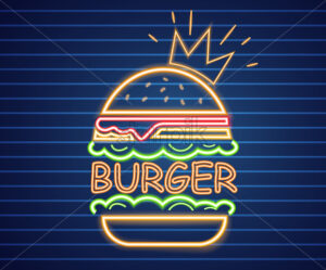Neon king burger Vector poster. Glowing sign fastfood light billboard symbol. Cafe menu item - starpik