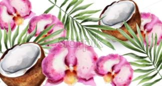 Orchid flowers and coconut Vector watercolor. Tropic exotic card background - starpik