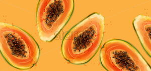 Papaya fruits Vector watercolor. Summer fresh juicy banner - starpik