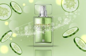 Perfume bottle Vector realistic. Product packaging mockup. Fresh cucumber green scent. 3d template illustration - starpik