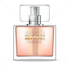 Perfume bottle Vector realistic. Product packaging mockup. Fresh spring aroma. 3d template illustration - starpik
