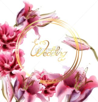 Pink lily flowers Vector watercolor. Wedding ceremony gold floral frame - starpik