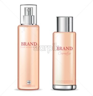 Pink spray cosmetics bottles Vector realistic. Product packaging mockup. Moisturizer hydration cosmetics. 3d template illustration - starpik