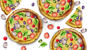 Pizza pattern vector watercolor. Delicious texture menu template - starpik