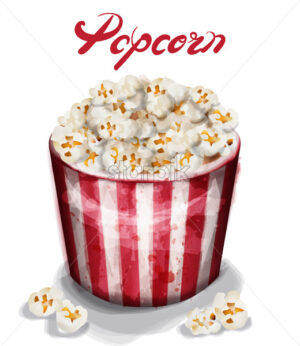 Pop corn box Vector watercolor. fresh cinema detailed template - starpik