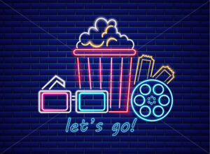 Popcorn and glasses neon style Vector. Glowing sign dark background. Shinning billboard template - starpik