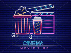 Popcorn, soda and movie cinema neon style Vector. Glowing sign dark background. Shinning billboard template - starpik