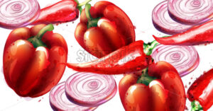 Red pepper and onion Vector pattern. Menu restaurant texture watercolor - starpik