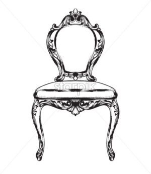 Rich baroque chair Vector. Retro style furniture. Vintage design - starpik