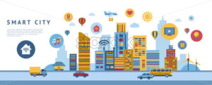 Smart city technology icons infographics collection, digital vector advert - starpik