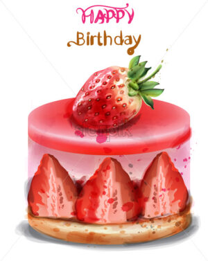 Strawberry birthday cake Vector watercolor. Happy birthday delicious card - starpik