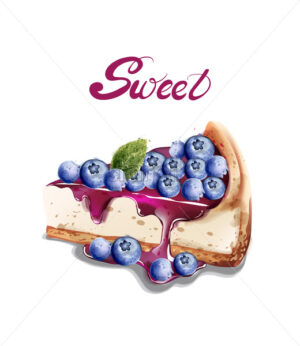 Sweet berry cheesecake Vector watercolor. delicious desserts with fruit toping - starpik