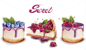 Sweet cakes set Vector watercolor. delicious desserts with fruit topings. cherry and blueberry flavour - starpik