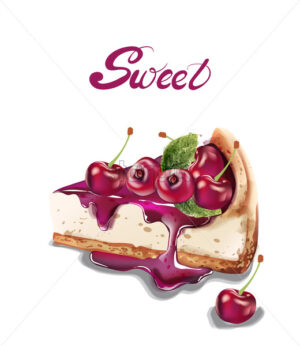 Sweet cherry cheesecake Vector watercolor. delicious desserts with fruit toping - starpik