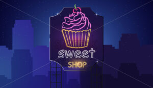 Sweet cupcake neon symbols Vector. Glowing sign dark background. Shinning billboard or menu template - starpik