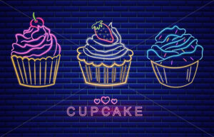 Sweet cupcakes set neon symbols Vector. Glowing sign dark background. Shinning billboard or menu template - starpik