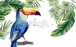 Toucan Vector watercolor. Tropic exotic summer card with parrot - starpik