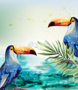 Toucan Vector watercolor. Tropic exotic summer card with parrots card - starpik