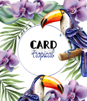 Toucan tropic card Vector watercolor. Exotic summer templates with orchid flowers - starpik