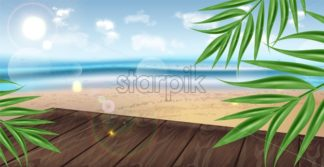 Tropic seaside template Vector realistic background. Exotic palm leaves summer layout. Green fresh banner poster for advertise - starpik