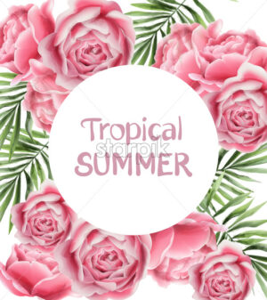 Tropic summer card with rose flowers Vector. Vintage floral frame decor - starpik