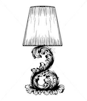Vector baroque table lamp line art. Classic royal decor ornaments. Black and white - starpik