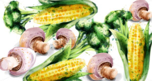 Vegetables watercolor Vector background. Mushrooms, corn and brocoli green eco product - starpik