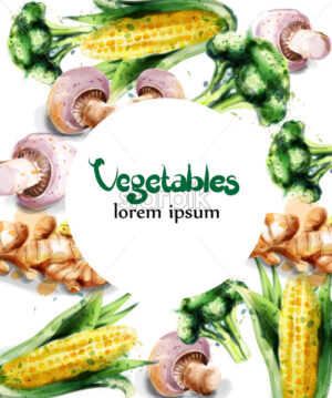 Vegetables watercolor Vector frame. Mushrooms, corn and brocoli green eco product - starpik