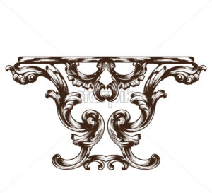 Vintage baroque table. Detailed rich ornament furniture vector illustration graphic line art - starpik
