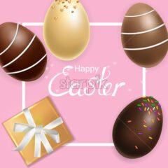 Easter card with chocolate eggs Vector realistic. Holiday greeting 3d detailed illustration