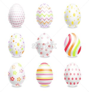 White Easter eggs set with ornaments Vector realistic. Spring holiday banner. 3d detailed poster template - starpik