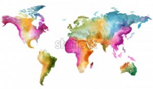 World map Vector watercolor. Colorful illustration grunge effect - starpik