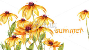 Yellow flowers Vector watercolor card. Summer floral decoration - starpik