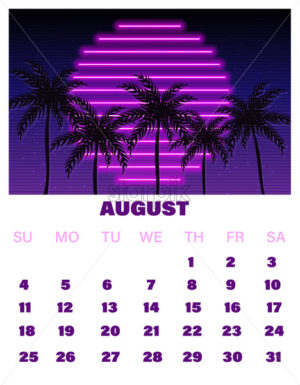 August neon calendar Vector. Summer decor design tropic sunset - starpik