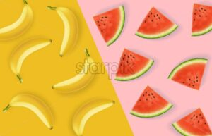 Banana and watermelon abstract pattern Vector realistic. Colorful poster background. 3d detailed juicy fruits slices. Summer fussion decor - starpik