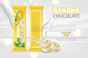 Banana chocolate Vector realistic mock up. Product placement label design. Detailed 3d illustration - starpik
