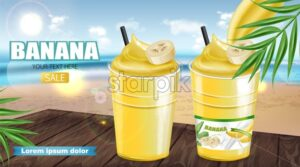 Banana cocktail shake Vector realistic mock up. Juicy drink with splash. Product placement. Detailed 3d illustration - starpik